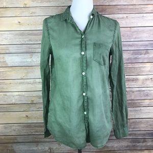 Holding Horses Sheer Green Button Down Shirt